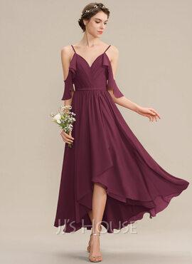 A-Line V-neck Asymmetrical Chiffon Bridesmaid Dress With Cascading Ruffles (007165867)