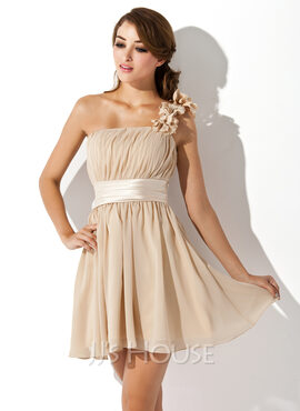 A-Line/Princess One-Shoulder Short/Mini Chiffon Bridesmaid Dress With Ruffle Flower(s) Bow(s) (007051833)
