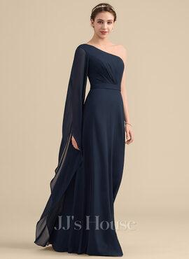 A-Line/Princess One-Shoulder Floor-Length Chiffon Bridesmaid Dress With Ruffle (007153335)