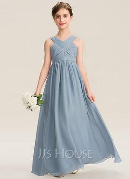 A-Line V-neck Floor-Length Chiffon Junior Bridesmaid Dress With Ruffle (009165011)