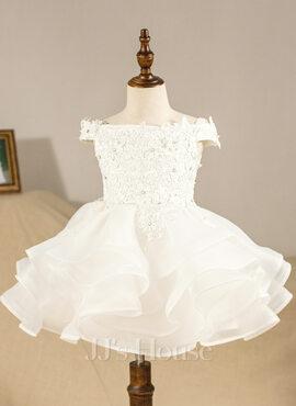 Ball-Gown/Princess Knee-length Flower Girl Dress - Organza Sleeveless Off-the-Shoulder (010094586)