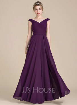 A-Line/Princess Off-the-Shoulder Floor-Length Chiffon Bridesmaid Dress With Ruffle (007104732)