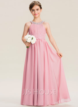 A-Line Scoop Neck Floor-Length Chiffon Lace Junior Bridesmaid Dress With Ruffle Beading Sequins (009173285)