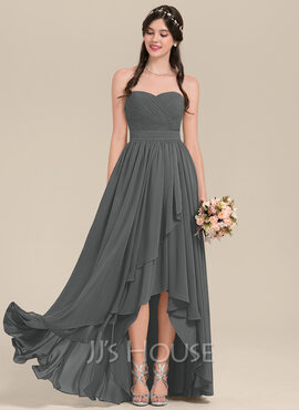 A-Line Sweetheart Asymmetrical Chiffon Bridesmaid Dress With Cascading Ruffles (007126464)