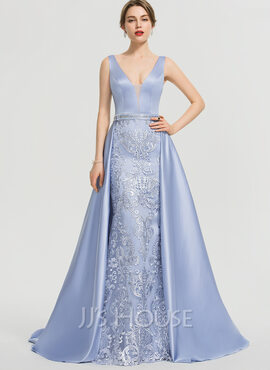 A-Line V-neck Sweep Train Satin Prom Dresses With Beading Sequins (018192363)