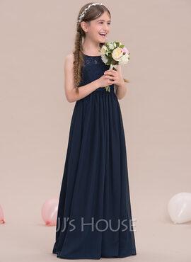 A-Line Scoop Neck Floor-Length Chiffon Junior Bridesmaid Dress (009119591)