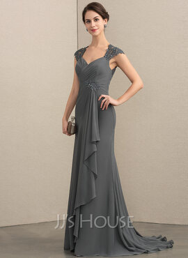 A-Line Sweetheart Sweep Train Chiffon Lace Mother of the Bride Dress With Beading Sequins (008164101)