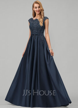 A-Line Scoop Neck Floor-Length Satin Prom Dresses With Lace Beading Sequins Bow(s) Pockets (018220234)