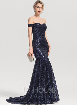 Trumpet/Mermaid Off-the-Shoulder Sweep Train Sequined Evening Dress (017153639)