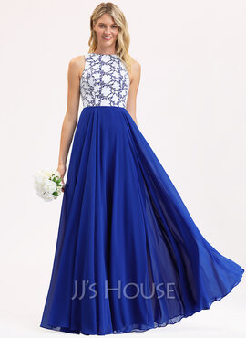 A-Line Scoop Neck Floor-Length Chiffon Lace Bridesmaid Dress (007190708)