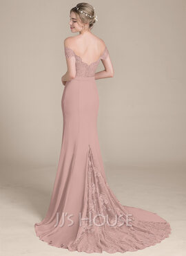 Trumpet/Mermaid Off-the-Shoulder Court Train Chiffon Lace Bridesmaid Dress (007104725)
