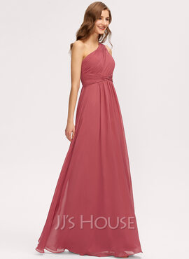 A-Line One-Shoulder Floor-Length Chiffon Bridesmaid Dress With Ruffle (007221212)