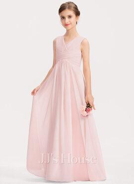 A-Line V-neck Floor-Length Chiffon Junior Bridesmaid Dress With Ruffle (009191696)
