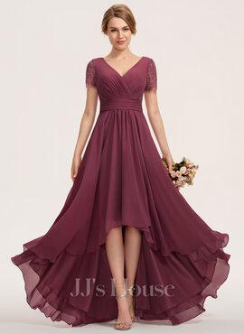 A-Line V-neck Asymmetrical Chiffon Lace Bridesmaid Dress With Ruffle (007190720)