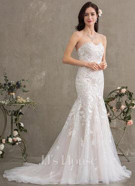 Trumpet/Mermaid Sweetheart Court Train Tulle Lace Wedding Dress (002186404)