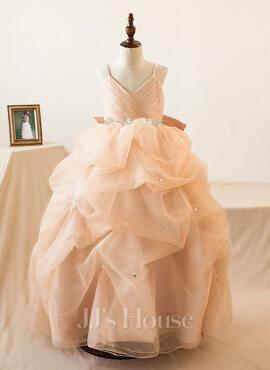 Ball-Gown/Princess Floor-length Flower Girl Dress - Tulle Sleeveless Straps With Ruffles/Bow(s)/Rhinestone (010103727)