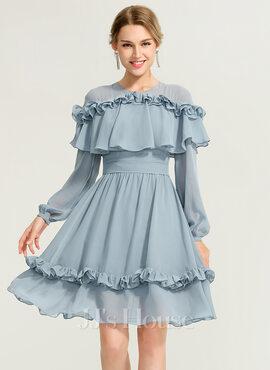 A-Line Scoop Neck Knee-Length Chiffon Cocktail Dress (016170851)