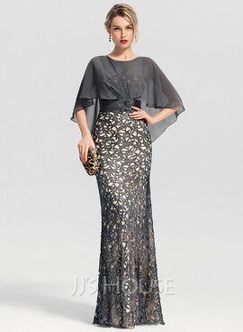 Trumpet/Mermaid Scoop Neck Floor-Length Lace Evening Dress With Beading Sequins (017153636)