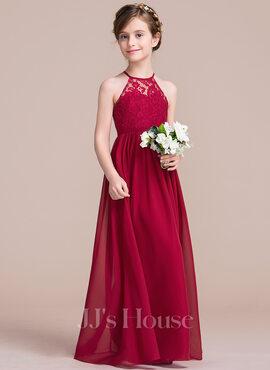 A-Line Floor-length Flower Girl Dress - Chiffon/Lace Sleeveless Scoop Neck (010113801)