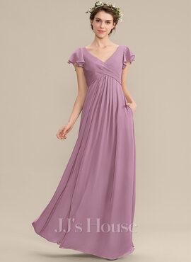 A-Line V-neck Floor-Length Chiffon Bridesmaid Dress With Cascading Ruffles Pockets (007176734)