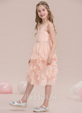 A-Line Scoop Neck Knee-Length Chiffon Junior Bridesmaid Dress With Beading Sequins Cascading Ruffles (009119573)