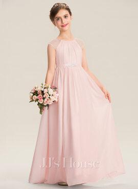 A-Line Scoop Neck Floor-Length Chiffon Junior Bridesmaid Dress With Beading Sequins (009173303)