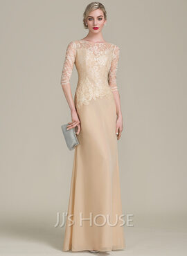 Sheath/Column Scoop Neck Floor-Length Chiffon Lace Evening Dress (017113533)