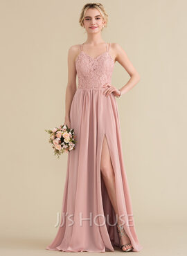 A-Line Sweetheart Floor-Length Chiffon Lace Prom Dresses With Split Front (018157158)