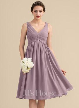 Empire V-neck Knee-Length Chiffon Bridesmaid Dress With Cascading Ruffles (007153325)