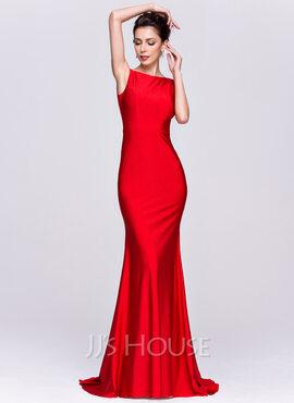 Trumpet/Mermaid Scoop Neck Sweep Train Jersey Evening Dress (017065562)