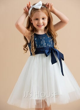 A-Line Knee-length Flower Girl Dress - Tulle/Lace Sleeveless Scoop Neck With Sash (010122617)