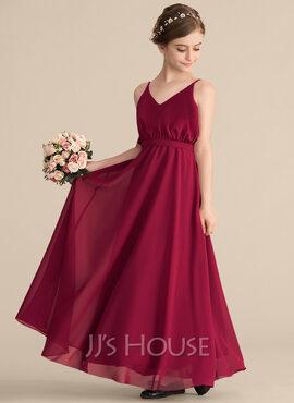 A-Line V-neck Floor-Length Chiffon Junior Bridesmaid Dress With Bow(s) (009165042)