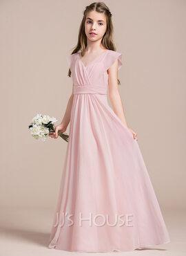A-Line V-neck Floor-Length Chiffon Junior Bridesmaid Dress With Ruffle (009087906)