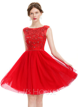 A-Line Scoop Neck Knee-Length Tulle Homecoming Dress With Beading Sequins (022120485)