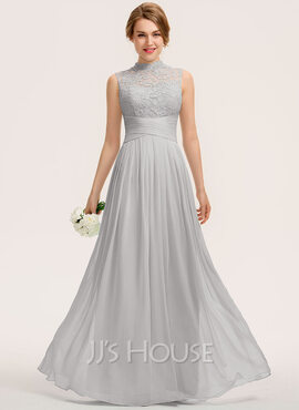 A-Line High Neck Floor-Length Chiffon Lace Bridesmaid Dress With Ruffle (007190702)