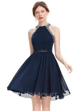 A-Line Scoop Neck Knee-Length Chiffon Homecoming Dress With Beading (022120478)