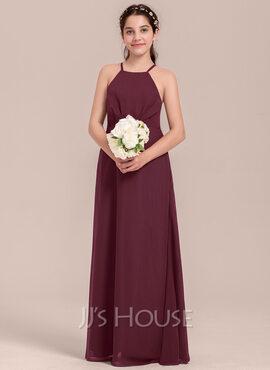 A-Line Square Neckline Floor-Length Chiffon Junior Bridesmaid Dress With Ruffle (009130634)