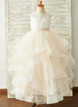 Ball-Gown/Princess Floor-length Flower Girl Dress - Tulle/Lace Sleeveless Scoop Neck (010192413)