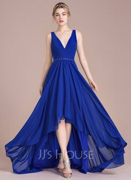 A-Line V-neck Asymmetrical Chiffon Prom Dresses With Ruffle Beading Sequins (018112650)