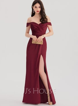 Sheath/Column Off-the-Shoulder Floor-Length Satin Prom Dresses With Ruffle Split Front (018138358)