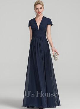 A-Line V-neck Floor-Length Chiffon Evening Dress With Ruffle (017126289)