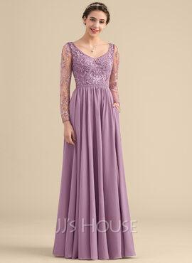 A-Line V-neck Floor-Length Chiffon Lace Bridesmaid Dress With Beading Pockets (007153310)