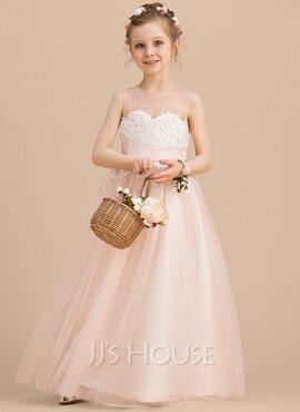 A-Line Floor-length Flower Girl Dress - Tulle/Lace Sleeveless Scoop Neck (010122557)