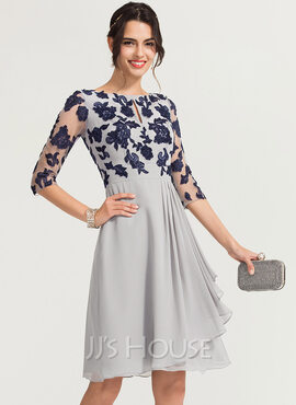 A-Line Scoop Neck Knee-Length Chiffon Cocktail Dress With Ruffle (016170839)