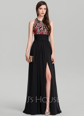 A-Line/Princess Scoop Neck Floor-Length Chiffon Evening Dress With Ruffle Split Front (017126613)