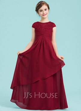Empire Scoop Neck Floor-Length Chiffon Junior Bridesmaid Dress With Ruffle (009149004)