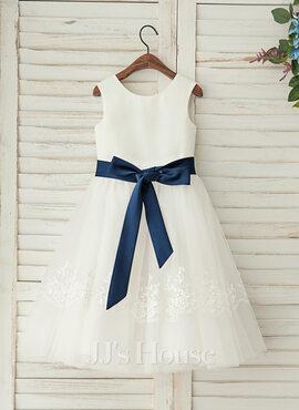 A-Line/Princess Tea-length Flower Girl Dress - Satin/Lace Sleeveless Scoop Neck With Sash (010122613)