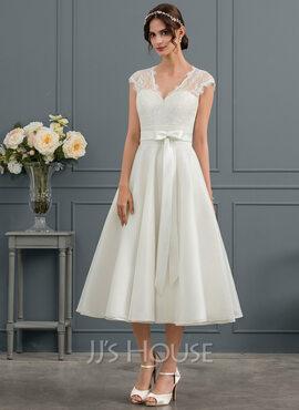 A-Line V-neck Tea-Length Satin Wedding Dress With Bow(s) (002145320)
