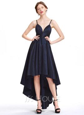 A-Line Sweetheart Asymmetrical Taffeta Homecoming Dress (022127919)