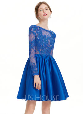 A-Line Scoop Neck Knee-Length Satin Homecoming Dress (022127944)